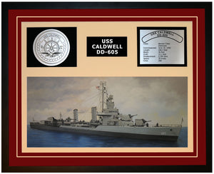 USS CALDWELL DD-605 Framed Navy Ship Display Burgundy