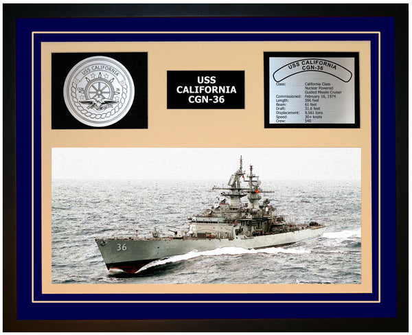 USS CALIFORNIA CGN-36 Framed Navy Ship Display Blue