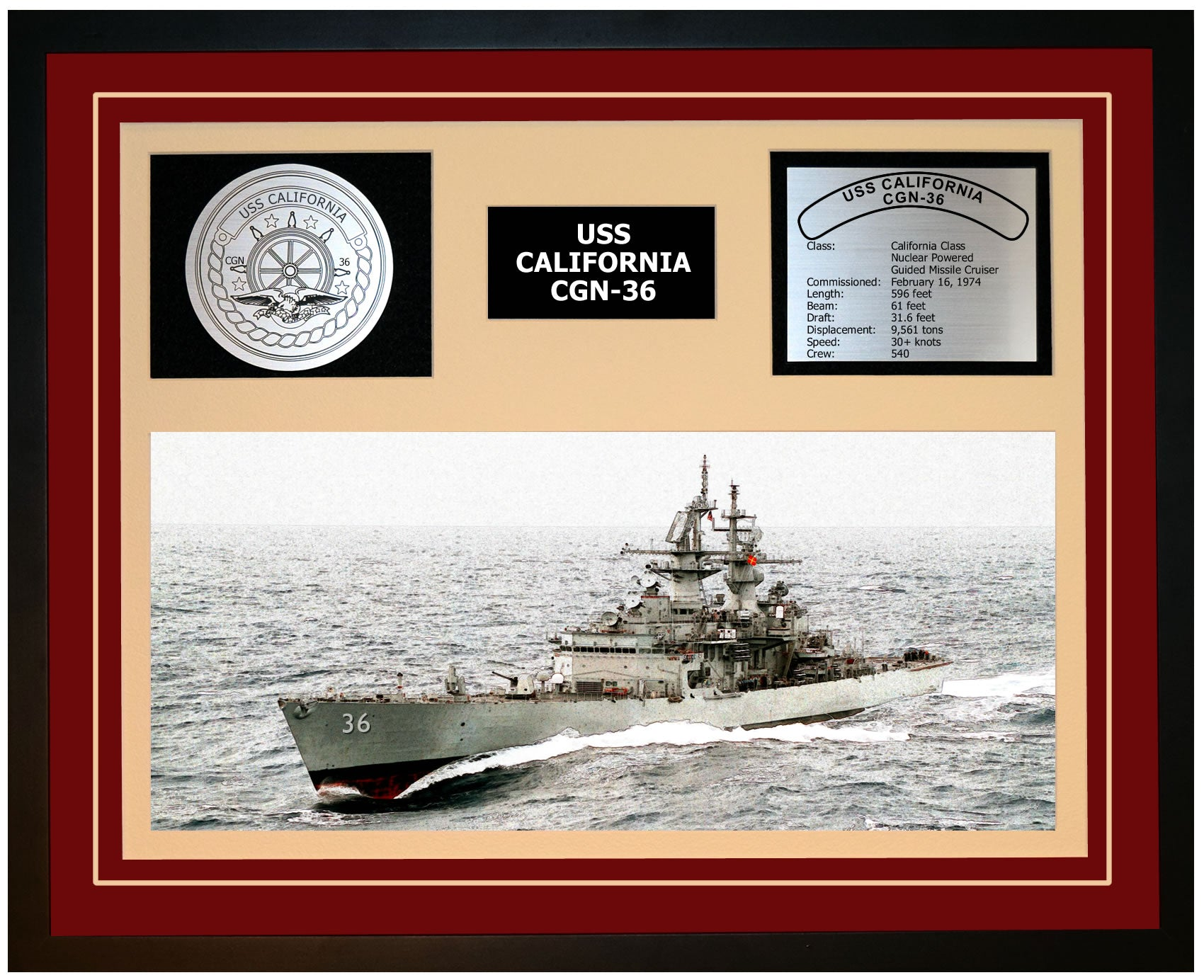 USS CALIFORNIA CGN-36 Framed Navy Ship Display Burgundy