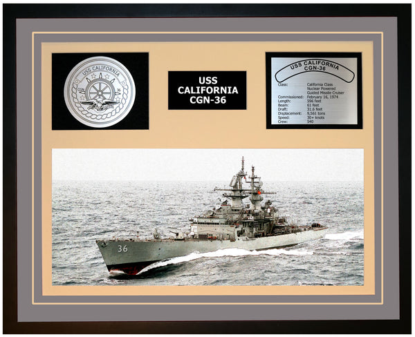 USS CALIFORNIA CGN-36 Framed Navy Ship Display Grey