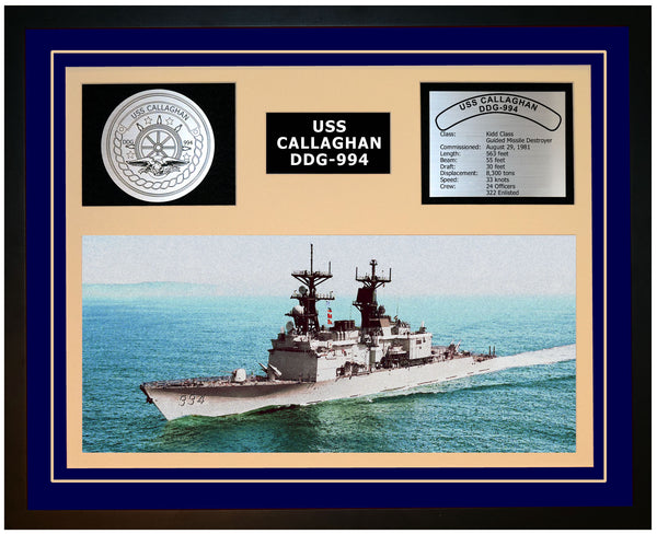 USS CALLAGHAN DDG-994 Framed Navy Ship Display Blue