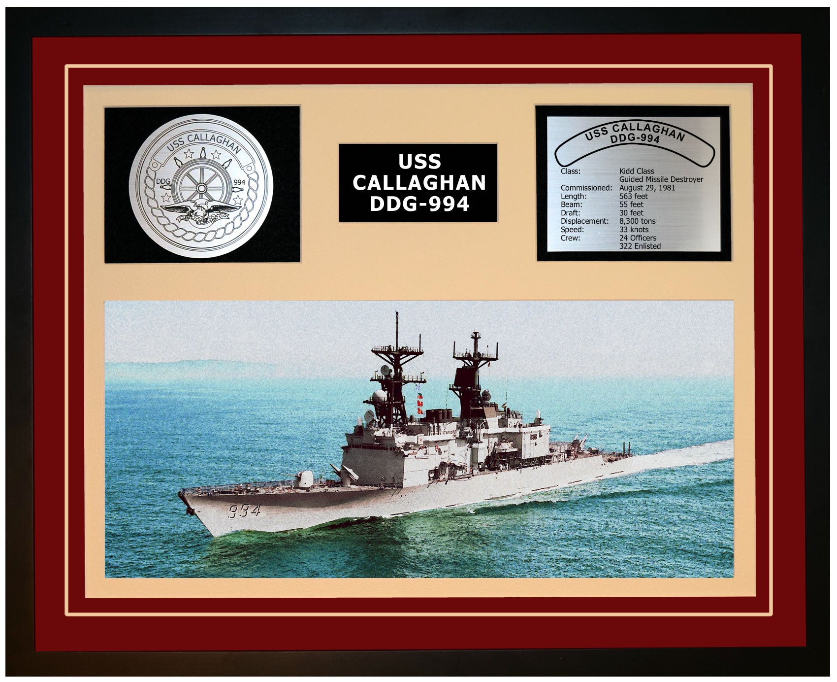 USS CALLAGHAN DDG-994 Framed Navy Ship Display Burgundy