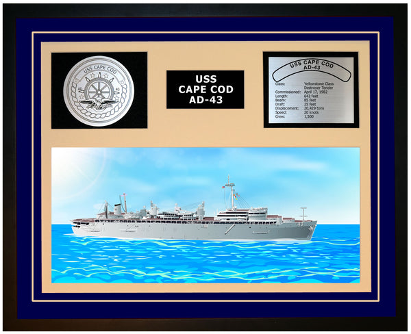 USS CAPE COD AD-43 Framed Navy Ship Display Blue
