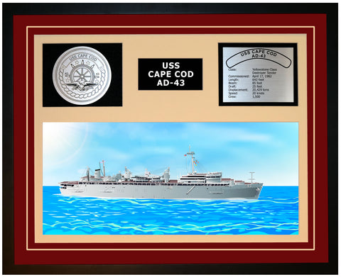 USS CAPE COD AD-43 Framed Navy Ship Display Burgundy