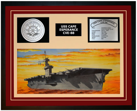 USS CAPE ESPERANCE CVE-88 Framed Navy Ship Display Burgundy