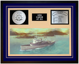 USS CARIB AT-82 Framed Navy Ship Display Blue
