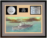 USS CARIB AT-82 Framed Navy Ship Display Grey
