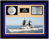 USS CARON DD-970 Framed Navy Ship Display Blue