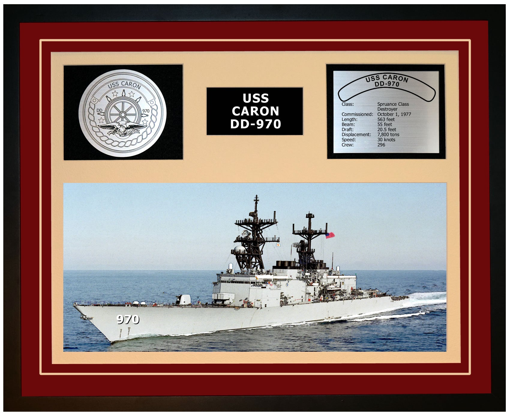 USS CARON DD-970 Framed Navy Ship Display Burgundy