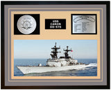 USS CARON DD-970 Framed Navy Ship Display Grey
