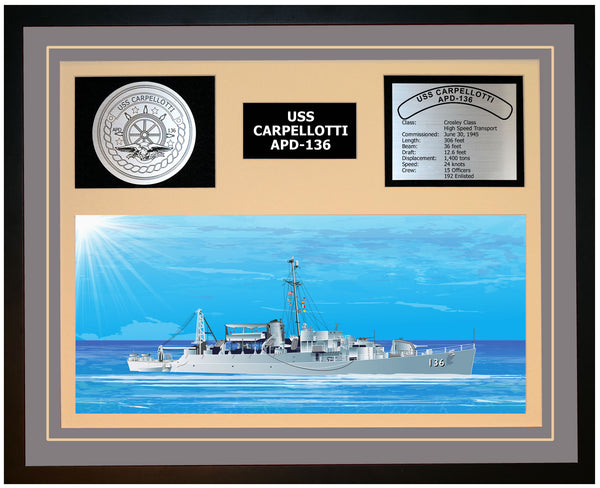 USS CARPELLOTTI APD-136 Framed Navy Ship Display Grey