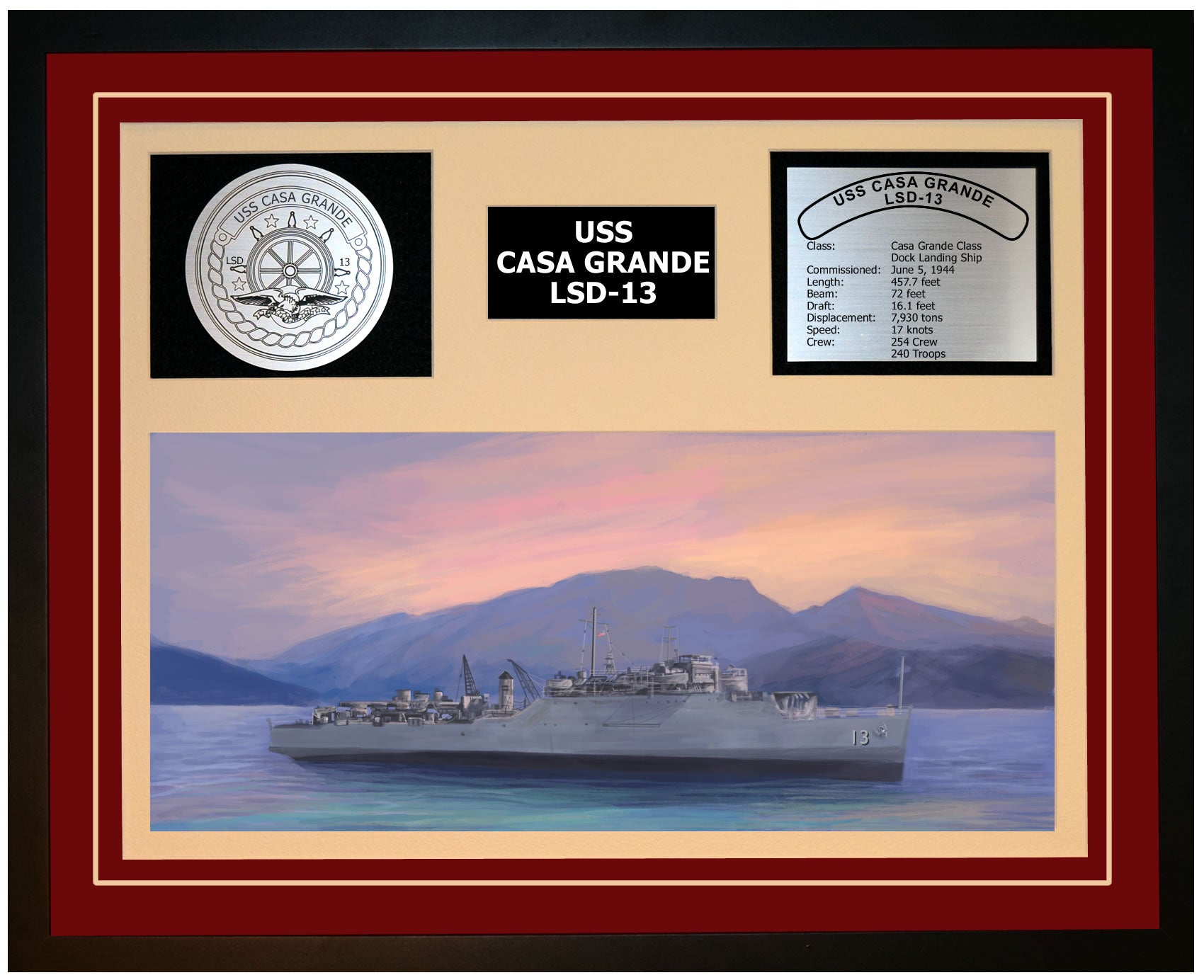 USS CASA GRANDE LSD-13 Framed Navy Ship Display Burgundy