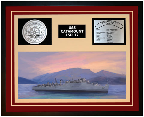 USS CATAMOUNT LSD-17 Framed Navy Ship Display Burgundy