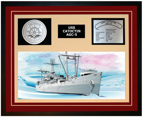 USS CATOCTIN AGC-5 Framed Navy Ship Display Burgundy