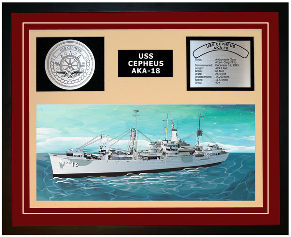 USS CEPHEUS AKA-18 Framed Navy Ship Display Burgundy