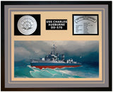 USS CHARLES AUSBURNE DD-570 Framed Navy Ship Display Grey
