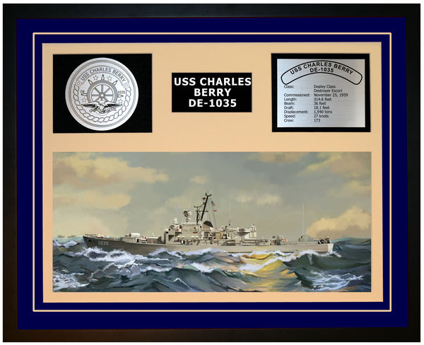 USS CHARLES BERRY DE-1035 Framed Navy Ship Display Blue