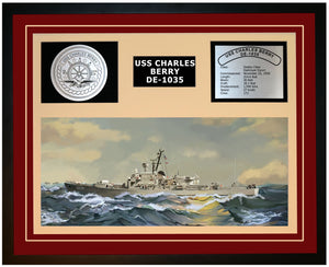 USS CHARLES BERRY DE-1035 Framed Navy Ship Display Burgundy