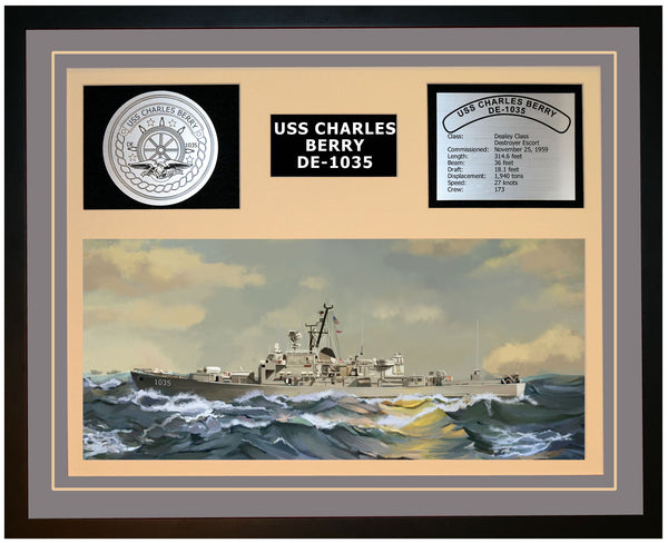 USS CHARLES BERRY DE-1035 Framed Navy Ship Display Grey