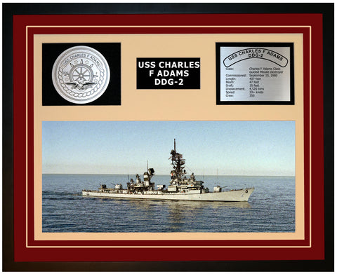 USS CHARLES F ADAMS DDG-2 Framed Navy Ship Display Burgundy