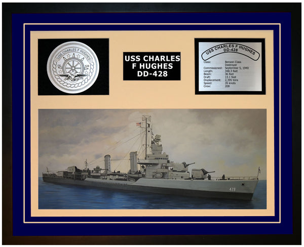 USS CHARLES F HUGHES DD-428 Framed Navy Ship Display Blue