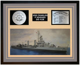 USS CHARLES F HUGHES DD-428 Framed Navy Ship Display Grey