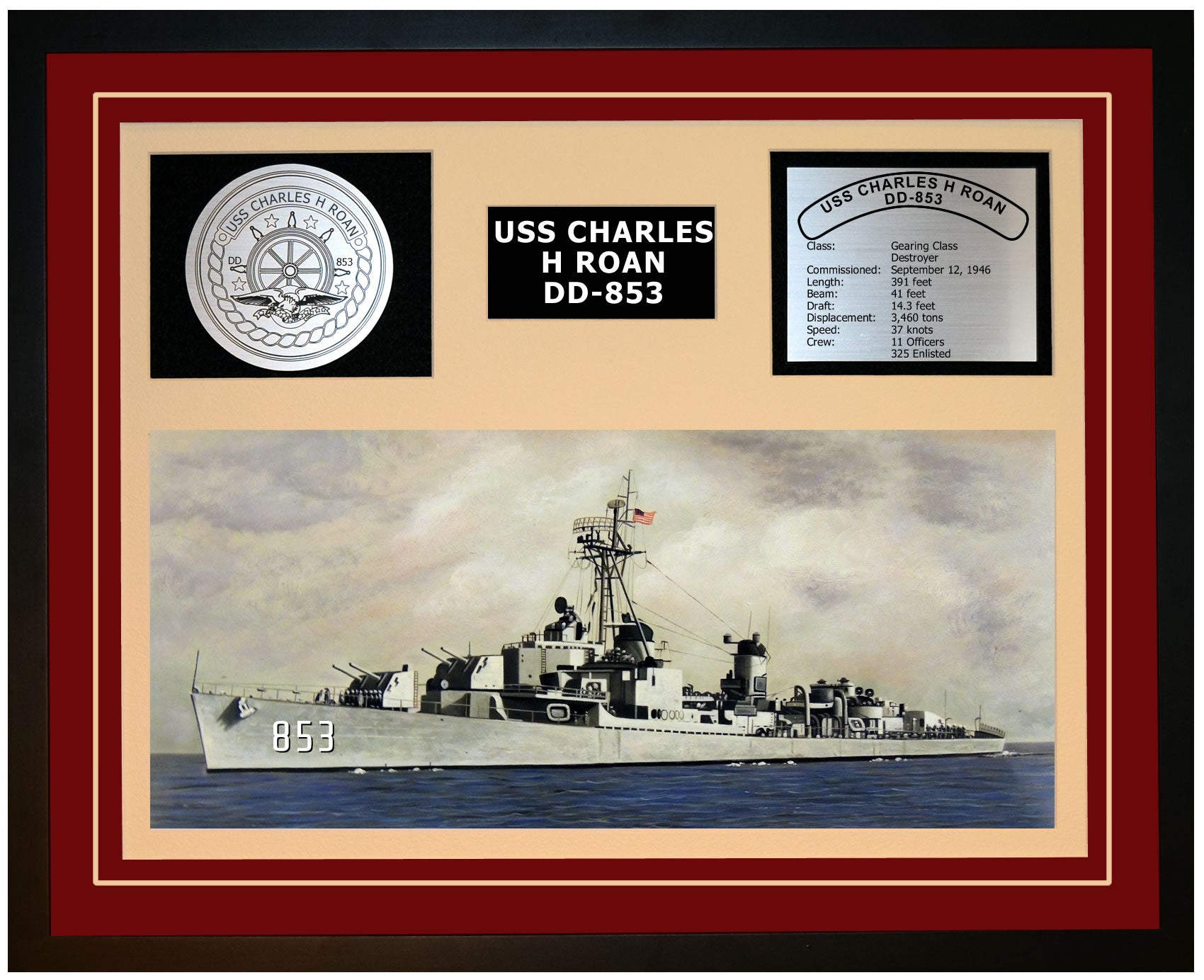USS CHARLES H ROAN DD-853 Framed Navy Ship Display Burgundy