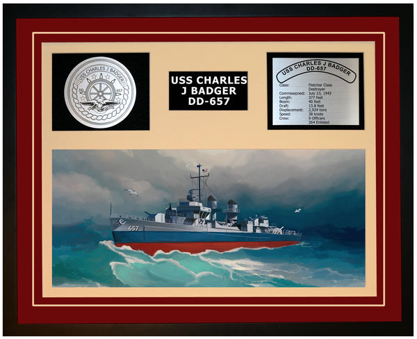 USS CHARLES J BADGER DD-657 Framed Navy Ship Display Burgundy