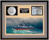 USS CHARLES J BADGER DD-657 Framed Navy Ship Display Grey