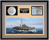 USS CHARLES LAWRENCE DE-53 Framed Navy Ship Display Grey