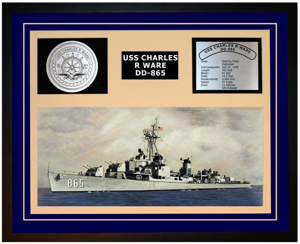 USS CHARLES R WARE DD-865 Framed Navy Ship Display Blue
