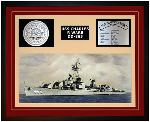 USS CHARLES R WARE DD-865 Framed Navy Ship Display Burgundy