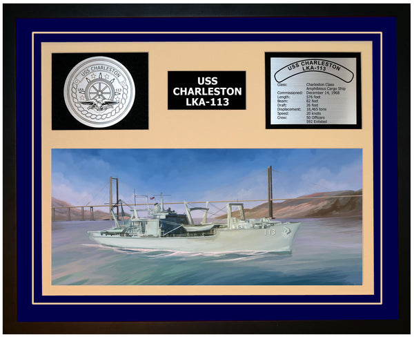 USS CHARLESTON LKA-113 Framed Navy Ship Display Blue