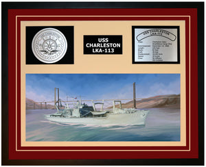 USS CHARLESTON LKA-113 Framed Navy Ship Display Burgundy