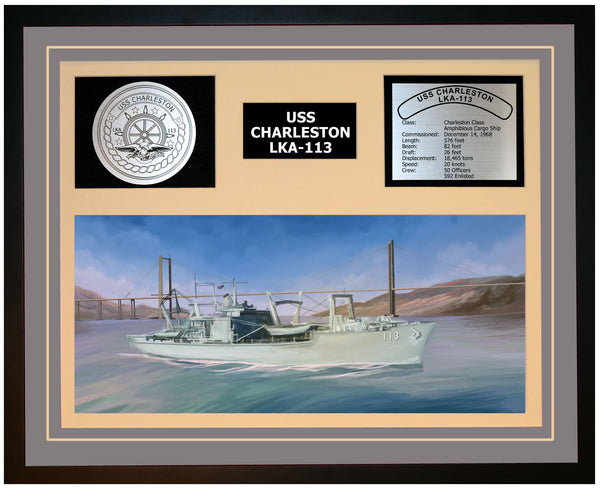 USS CHARLESTON LKA-113 Framed Navy Ship Display Grey