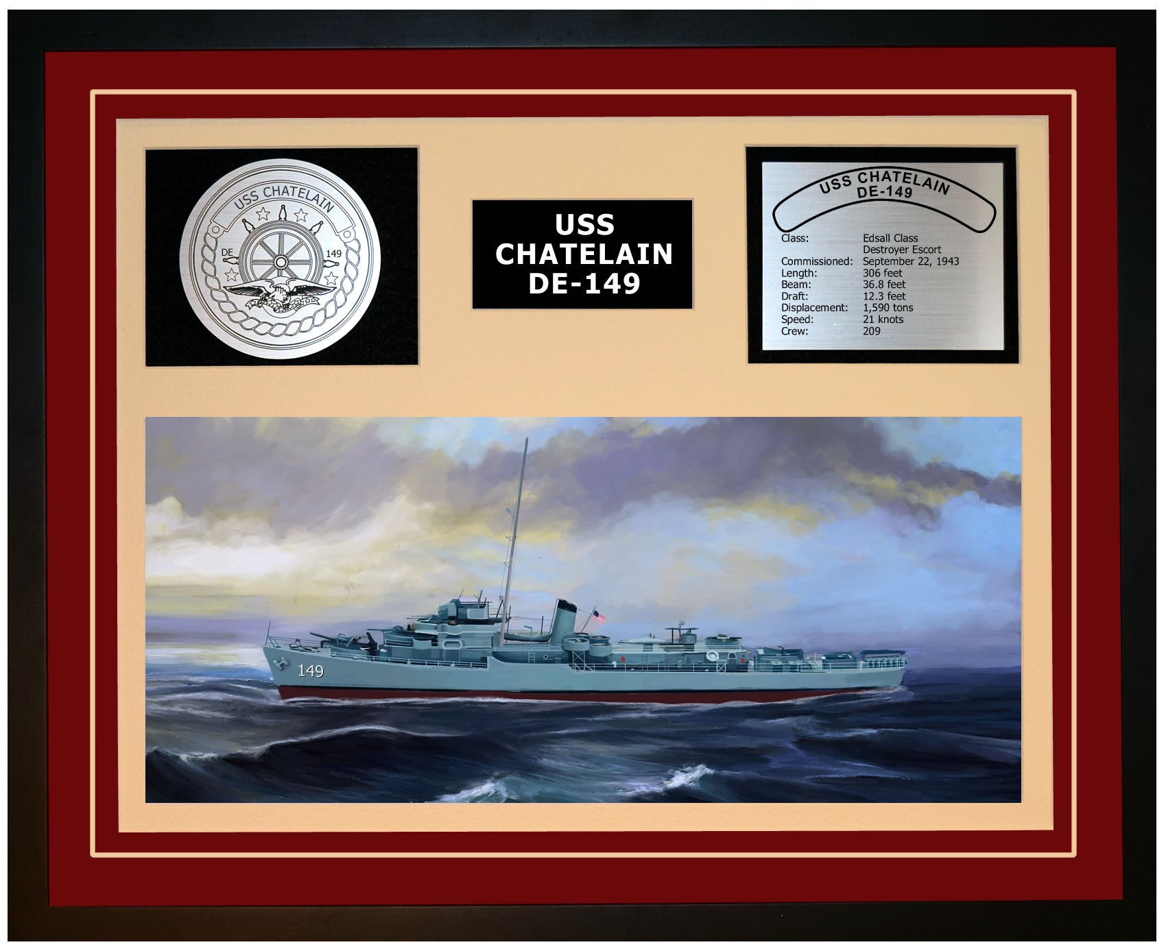 USS CHATELAIN DE-149 Framed Navy Ship Display Burgundy