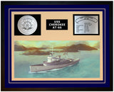 USS CHEROKEE AT-66 Framed Navy Ship Display Blue