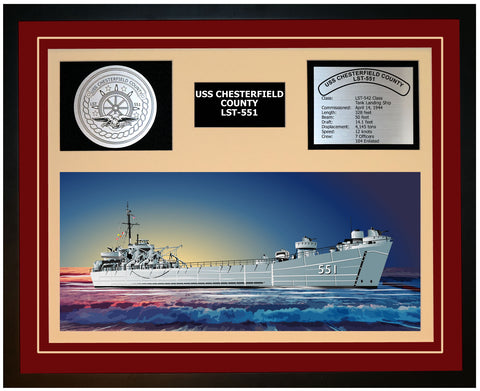 USS CHESTERFIELD COUNTY LST-551 Framed Navy Ship Display Burgundy