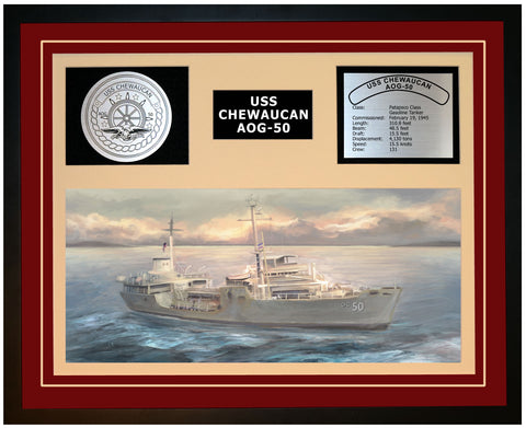 USS CHEWAUCAN AOG-50 Framed Navy Ship Display Burgundy