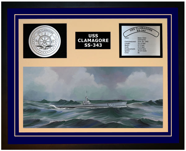 USS CLAMAGORE SS-343 Framed Navy Ship Display Blue