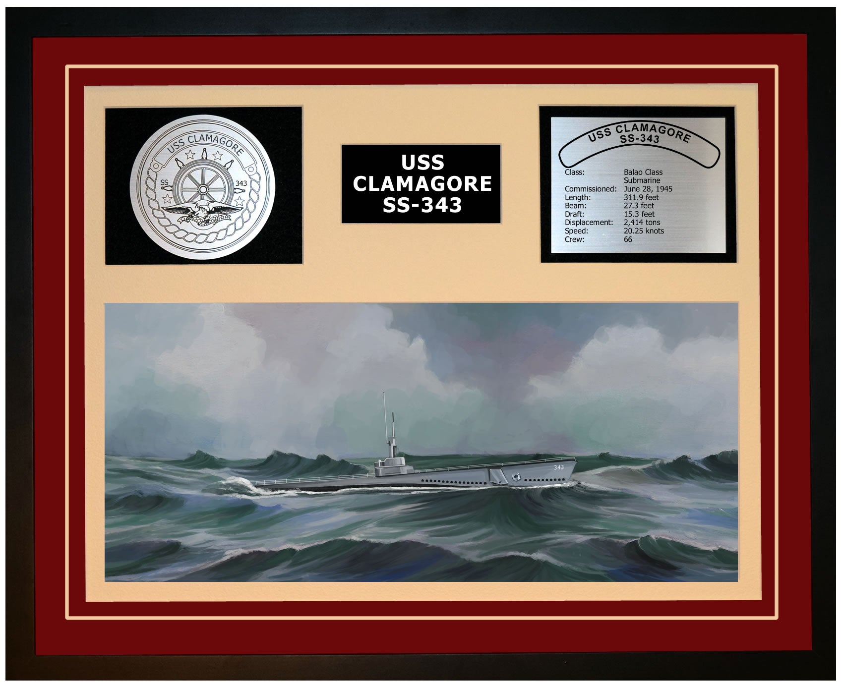 USS CLAMAGORE SS-343 Framed Navy Ship Display Burgundy