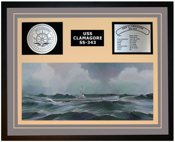 USS CLAMAGORE SS-343 Framed Navy Ship Display Grey