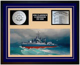 USS CLARENCE K BRONSON DD-668 Framed Navy Ship Display Blue