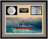 USS CLARENCE K BRONSON DD-668 Framed Navy Ship Display Grey