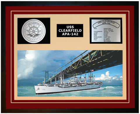 USS CLEARFIELD APA-142 Framed Navy Ship Display Burgundy