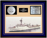 USS CLEVELAND LPD-7 Framed Navy Ship Display Blue