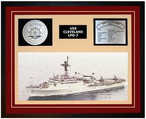 USS CLEVELAND LPD-7 Framed Navy Ship Display Burgundy