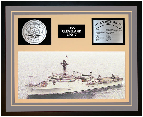 USS CLEVELAND LPD-7 Framed Navy Ship Display Grey