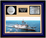 USS CLIFTON SPRAGUE FFG-16 Framed Navy Ship Display Blue