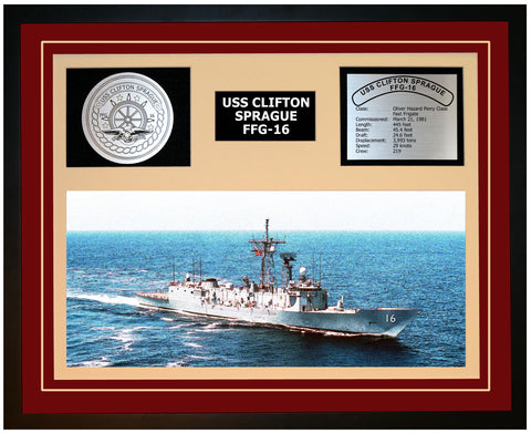 USS CLIFTON SPRAGUE FFG-16 Framed Navy Ship Display Burgundy